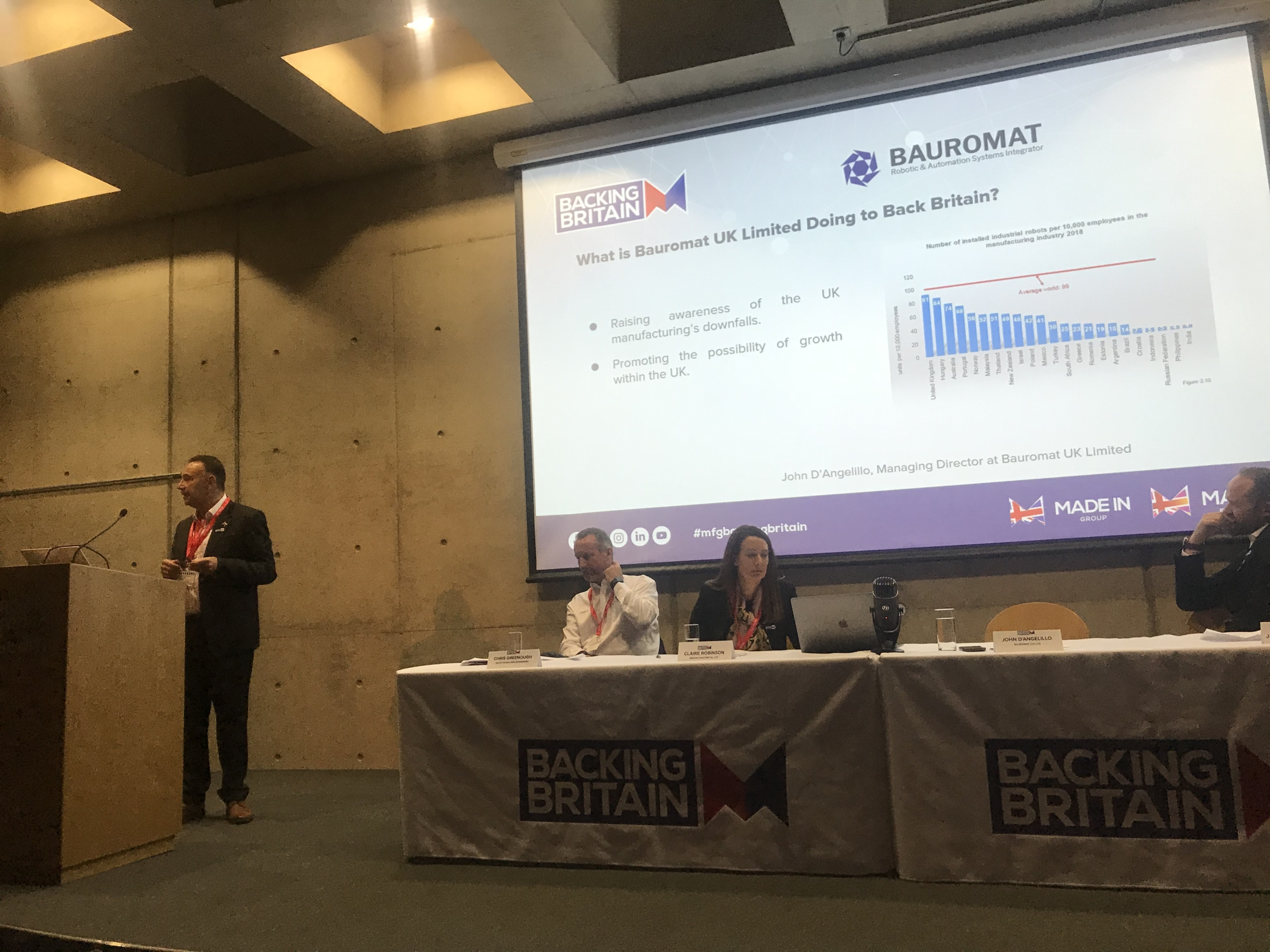 Bauromat's John D'Angelillo giving a talk at the launch of Back Britain