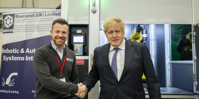 Image ©No10 Crown Copyright . 31/01/2020. London, UK. UK Prime Minister Boris Johnson visits the Automotive and Advanced Manufacturing Practice (AMAP), Sunderland on Brexit Day. Picture by Pippa Fowles / No10 Downing Street
